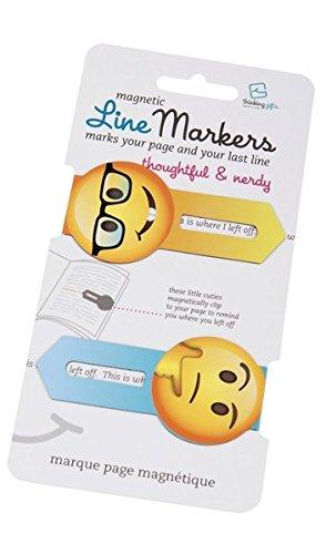 Line Markers Thoughtful&Nerdy - Magnetische Lesezeichen: 2er Set Motiv Emoji