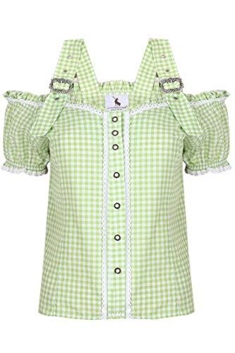Alpenmärchen, Trachtenbluse Carmenbluse Trachtenhemd Mieder Gr.38, hellgrün, BL011