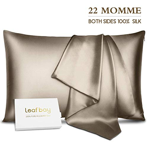 Leafbay 100% Pure Mulberry Silk Pillowcase for Hair & Skin -Allergen Proof Dual Sides 600 Thread Count Silk Bed Pillow Cases with Hidden Zipper,1 Pack...