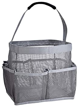 Mesh Shower Bag - Easily Carry Organize Bathroom Toiletry Essentials While Taking a Shower  9-Pockets | Grey