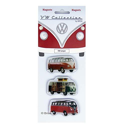 Brisa VW Collection - Volkswagen Furgoneta Hippie Bus T1 Van Juego de 3 Imanes para Tablón de anuncios, Decoración Magnética para Nevera como Idea de Regalo/Souvenir (Camper/Rojo)