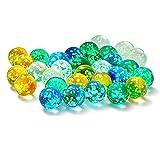 Joeesun Canicas de Vidrio Luminoso Juegos de mármol para niños, Bricolaje y decoración del hogar, Maceta, pecera, Bola de decoración de Acuario (20 Piezas)