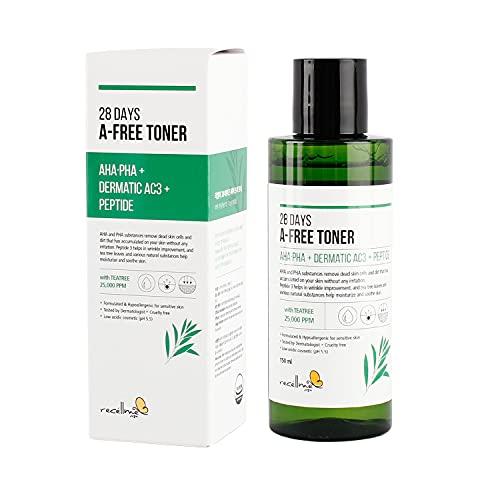 recellme 28 Days Face Toner 150ml 5oz for Skin Moisturizing Soothing Calming Elasticity and Low Acid PH 5.5 Balanced for Sensitive Skin with Natural Plant Extracts and AHA PHA Peptide Ingredients