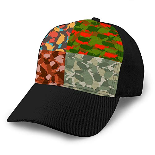 LINMIO1 Unisex Adjustable Mesh Caps Snapback Hat Set of USA Shape Camo Seamless Pattern Colorful