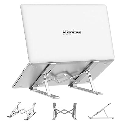 """Laptop Stand,Kimbe Adjustable Portable Computer Stand, Aluminum Laptop Riser Foldable Tablet Non-Slip Ventilated Desktop Holder,Compatible with MacBook Air Pro, Dell XPS, Lenovo More 10-15.6"""" Laptops"""