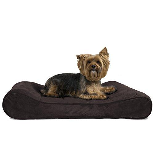 FurHaven Micro Velvet Luxe Lounger Pet Bed + Seat Belt Clip, Espresso,...