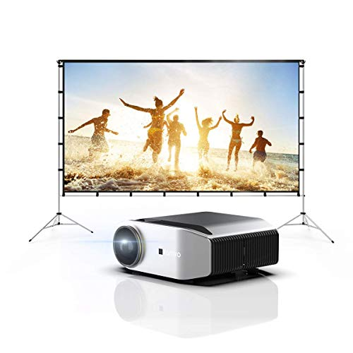 """Vamvo Private Movie System-Outdoor Indoor Projector Screen with Stand Foldable Portable 120 Inch with L6200 Full HD Video Projector with max 300"""" Display 1080P Projector"""