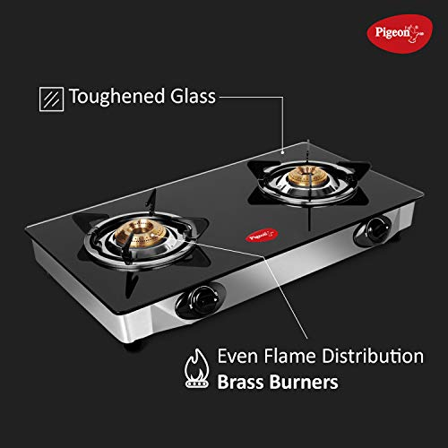 Pigeon by Stovekraft Favourite Backline Glass Top 2 Burner Gas Stove, Manual Ignition, black