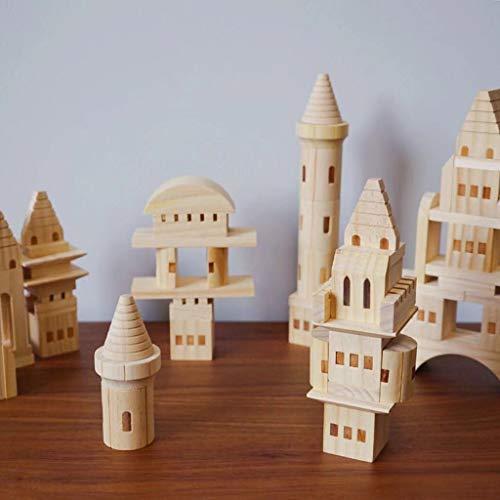 junengSO 75pcs / Set Bloques de construcción de Castillo de Madera Niños Baby Puzzle Juguetes de educación temprana