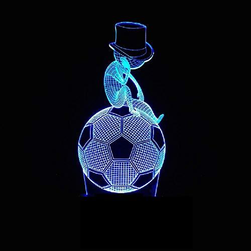 Nuevo Estilo De Lámpara De Fútbol 3D 7 Colores Táctiles 7 Led Visual Led Luz Nocturna Regalo Pequeña Lámpara De Escritorio