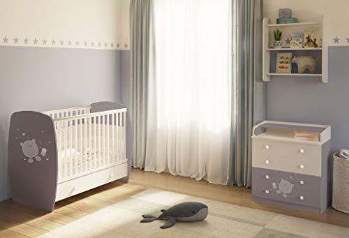 Polini kids Kinderzimmer Babybett + Kommode in grau-weiß