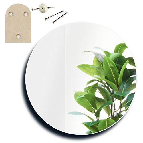 鏡 壁掛け 日本製 トイレ 丸 洗面 ラウンド 35×35cm [ 賃貸 貼れる 貼る デザイン ミラー ]かがみのカタチ