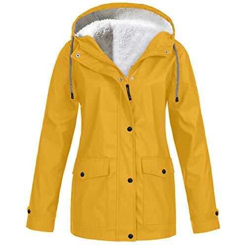 ZFQQ Herbst- und Winter-Mehrfarben- und Fleecejacke für Damen mit einfarbiger Kapuzenjacke
