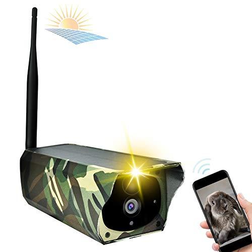 1080p HD Telecamera Wifi Esterno, Pannello Solare per Telecamera Esterna di Sicurezza, Videocamera Sorveglianza Esterno Senza Fili Camouflage Per Il Monitoraggio Della Fauna Selvatica