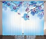 ABAKUHAUS Flor Cortinas, orquídeas Naturaleza, Sala de Estar Dormitorio...
