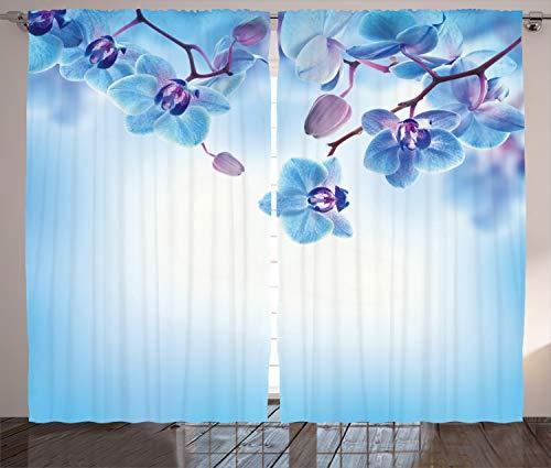 ABAKUHAUS Flor Cortinas, orquídeas Naturaleza, Sala de Estar Dormitorio Cortinas Ventana Set de Dos Paños, 280 x 225 cm, Azul y púrpura