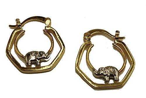 Elefante de dos tonos aros 18K chapado en oro aros–elefante Hoop Pendientes