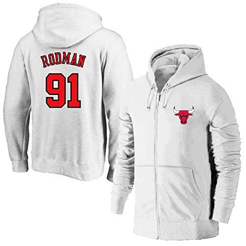 LNSOO Chaqueta de Baloncesto con Capucha para Hombre - Chicago Bulls 91# Rodman Sudadera con Capucha y Cremallera Traje de Entrenamiento de Baloncesto Chaqueta de Ropa Deportiva