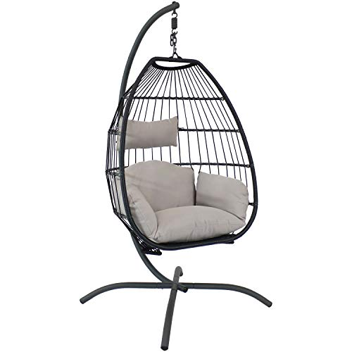 Sunnydaze Oliver Black Resin Wicker Hanging Egg Chair Swing with Gray Cushions and Steel Stand Set - Outdoor Boho Single Lounge Seat for Yard or Patio - Collapsible Nylon Rope Back Design