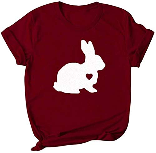 Happy Easter T-Shirt,Women's Short Sleeve Rubbit Egg Print Shirt F-Red S