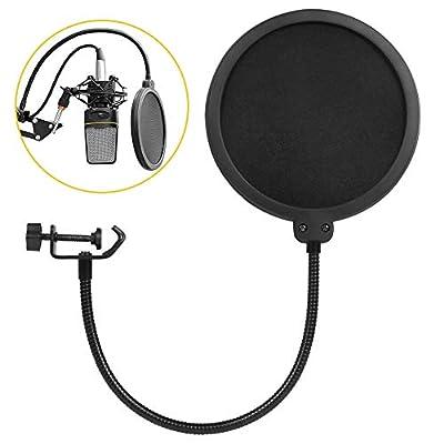 Wesho Microphone Pop Filter Studio Double Layer Round Shape Mic Wind Mask Shield Screen Studio Microphone Pop Filter with Stand Clip