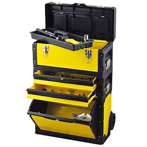 Taller Movil Modular,Caja Herramientas De Carro Rodante 3 En 1,Organizador De Cajas Para Construcción Edificios,Instalación Agua Y Electricidad,Maquillaje,Peluquería,520×320×720Mm,Amarillo