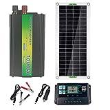 Desire Sky Kit de módulo de panel solar monocristalino de 200 W, 12 V, 1 unidad de 100 W, panel solar monocristalino de grado A + 20 A, controlador de carga LCD PWM, cable de extensión de conector de panel solar