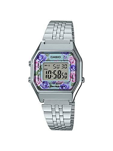 Casio LA680WA-2C Women's Vintage Floral Dial Alarm Chronograph Digital Watch