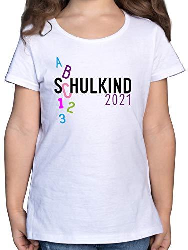 Einschulung und Schulanfang - Schulkind 2021 ABC rosa - 128 (7/8 Jahre) - Weiß - Shirt Schulkind mädchen 128 - F131K - Mädchen Kinder T-Shirt