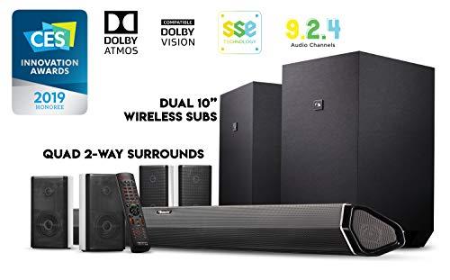 Nakamichi Shockwafe Ultra 9.2.4 Ch 1000W Dolby Atmos Soundbar with Dual 10' Subs (Wireless), Four 2-Way Rear...
