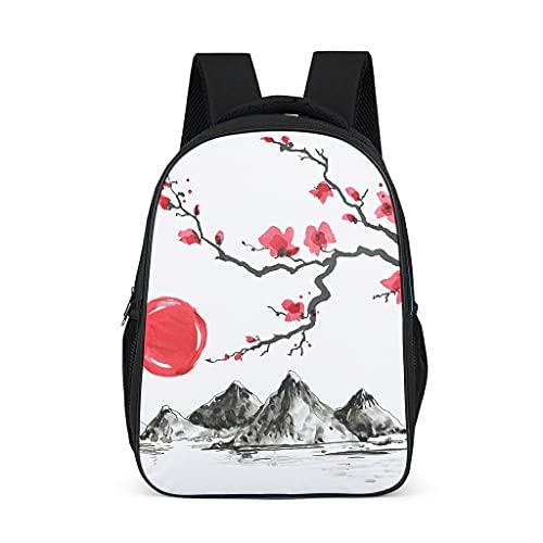 Hinfunees Mochila japonesa con diseño de flor de ciruelo para libros, estilo vintage, para adolescentes, tiempo libre, gris brillante., talla única
