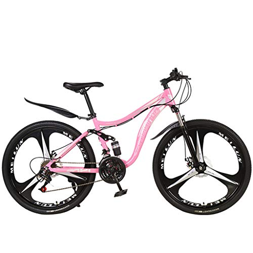 AmyDong Outroad Mountain Bike 3Spoke Double Shock Absorption 21 Speed 26 in Folding Bike Wheels Dual Suspension MTB Bikes Double Disc Brake Bicycles for Adult Teens