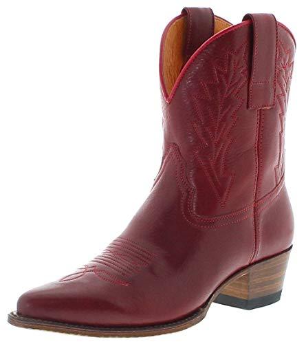 Sendra Boots Damen Cowboy Stiefel 16367 Lederstiefel Westernstiefelette Rot 43 EU