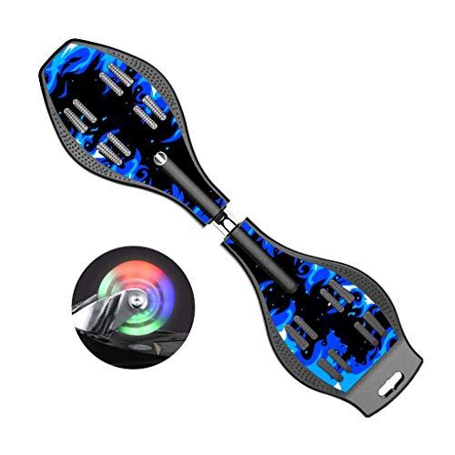 YASE-König Roller 23cm Vitalität Brett Drache Schlange Brett 2-Rad-Schwingen-Auto-Blau Kinder Skateboard Erwachsener Jugend Anfänger Verwenden Skateboard (Farbe: blau, Größe: 87 * 23 * 12.5CM)