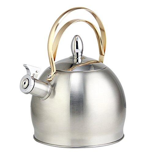riwendell, te hervidor de agua 3.2-quart hornillo, hervidor de agua tetera de silbido de acero inoxidable con mango de cobre GS-04043G-3.0L plata