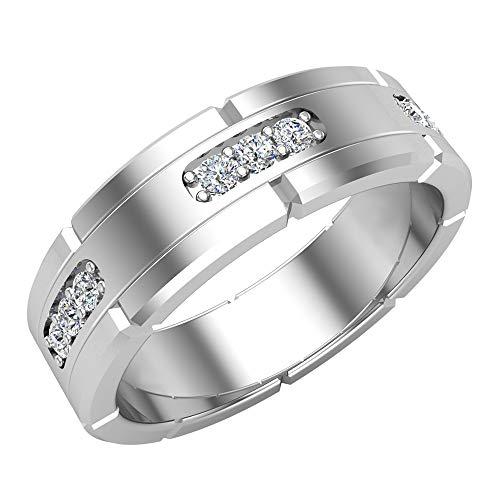Men's Diamond Wedding Band Semi-Eternity Wedding Ring 14K White Gold 0.45 ct tw (Ring Size 10)