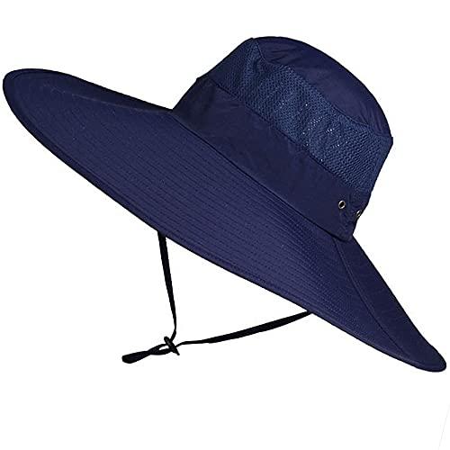WANYIG Sombrero de Pescador Hombres Verano Protección UV Sombreros de ala Ancha 15cm Gorra de Ciclismo Plegable Impermeable Sombreros para el Sol (Armada)