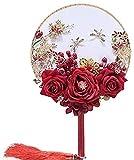 YXCUIDP Grupo Fan de la Boda Que Toma una Flor Plana del Estilo clásico Chino Flor Rosa roja, libélula de Plata, Granada Rojo, Blanco