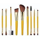 coolgoes 9piezas Juego de brochas de maquillaje/kit de sombra de ojos, cejas cara cepillos cosméticos herramientas (amarillo)