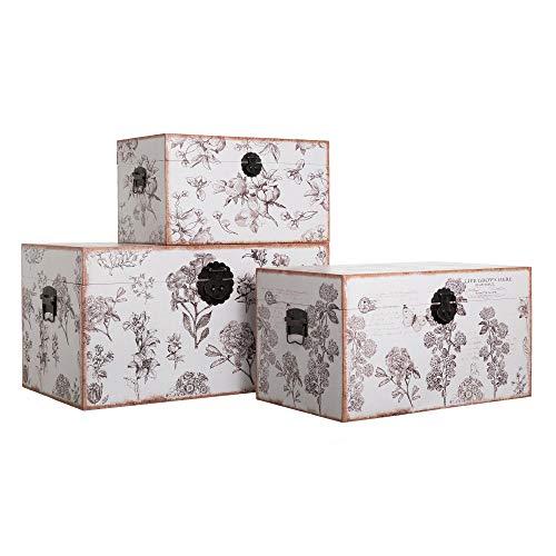 Set de 3 baúles Flores de Lona y Madera DM Blancos y Grises - LOLAhome