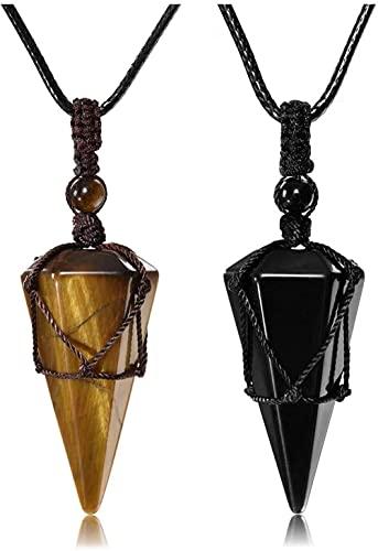 HUIQ Obsidian Healing Crystal Colgante Colgante Collar Hexagonal Piedra Piedra Gemstone para Hombres-Obsidian + Tiger Eye