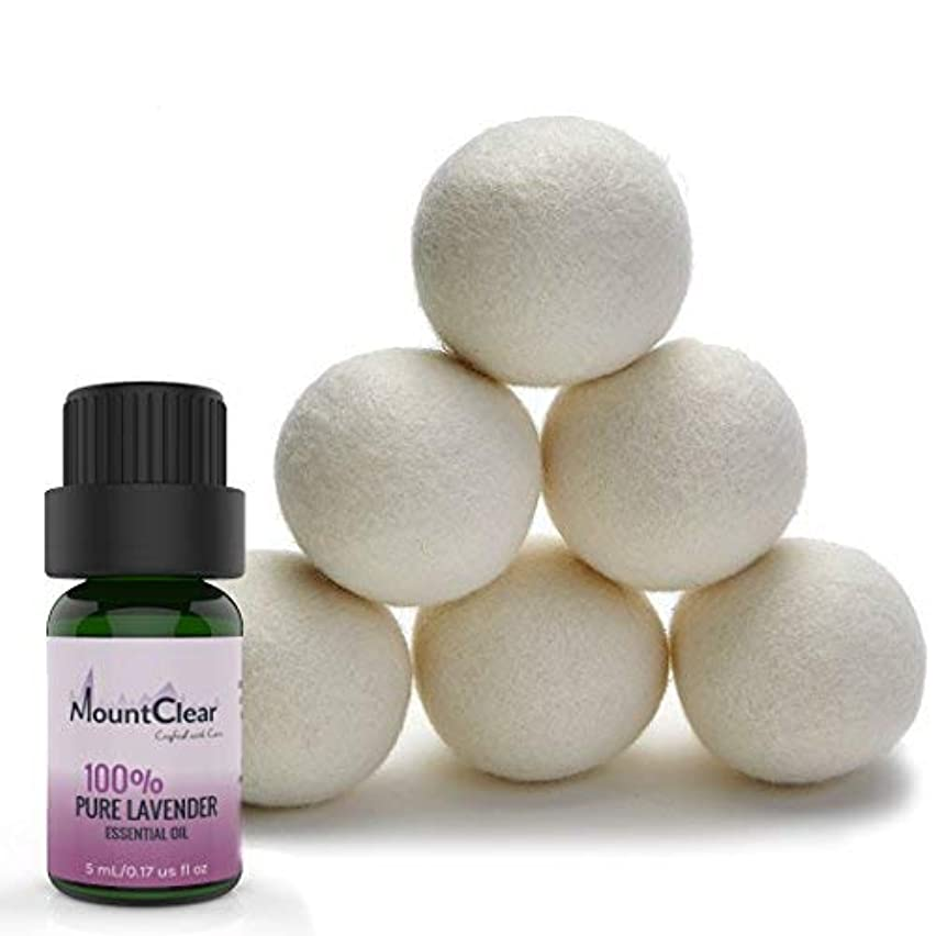 Mountclear Wool Dryer Balls-Lavender Scented Oil Fabric Softener-All Natural,Chemical Free and Hypoallergenic Reusable Washer Balls-Shorter Drying Time Saves Time and Money-Laundry Balls