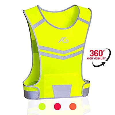 Reflective Running Vest Gear Ultralight & Comfortable Cycling Motorcycle Reflective Vest-Large Zippered Inside Pocket & Adjustable Waist- High Visibility Night Running Safety Vest (Yellow, L/XL)
