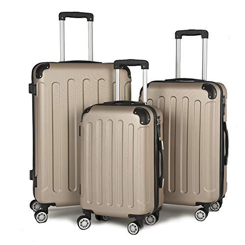 Aoute Koffer Kofferset Trolley Hartschale Reisekoffer 4 Rollen A13 M-L-XL-Set (Champagner, Set)
