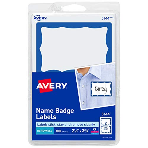 Avery Personalized Name Tags, Print or Write, Blue Border, 2-1/3' x 3-3/8', 100 Adhesive Tags (5144)