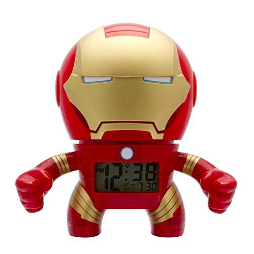 BulbBotz Marvel Iron Man Kinder-Wecker mit Hintergrundbeleuchtung| rot/gold| Kunststoff| 19 cm hoch| LCD-Display| Junge/Mädchen| offiziell