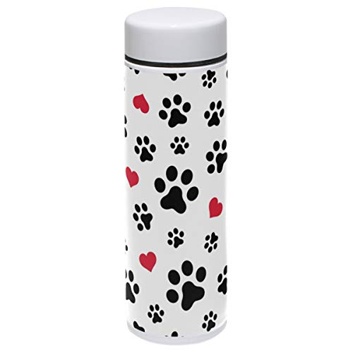 Dog Thermos Vacuum Insulated Bottle,Dog Animals Paw Heart Love Puppy Foot 304 Stainless Steel Water Bottle for Kids Adult,BPA Free Coffee Travel Mug Cup Mini 7.5 Oz Best Birthday Christmas Gifts
