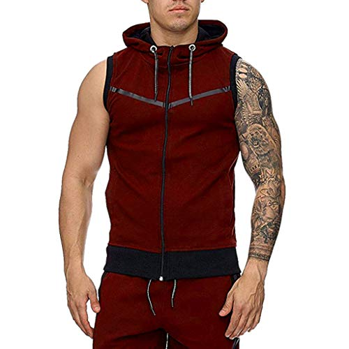 KINGOLDON Men's Stripe line Vest Jacket Lightweight Patchwork Sleeveless Contrast Hoodie Fitness t Shirt Red