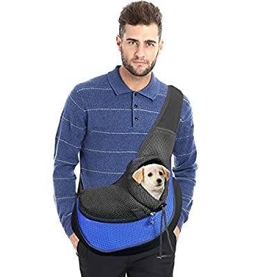 Cuby Pet Dog and Cat Sling Carrier Hands Free Breathable Mesh Adjustable Puppy Bag Travel Safe Sling Carrier for Small Dogs Cats (M, Royal Blue)