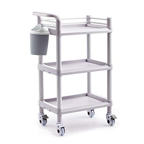 Pkfinrd Carrito de compras con ruedas ABS para salón de belleza con cubo de suciedad de 2/3 niveles de utilidad médica carrito de peluquería con rueda de freno universal